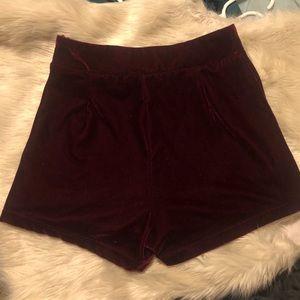 Maroon Velvet Shorts